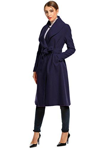 HOTOUCH Damen Mantel Wintermantel Kurzmantel Trenchcoat Coatigan Übergangsmantel Mit Gürtel Schalkragen Knielang Typ1_Navy Blau