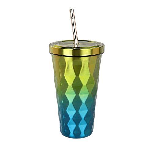 Trinkflasche Edelstahl Coffee-to-Go-Becher | 500ml Kaffe-Becher, Trink-Becher mit Stroh | wiederverwendbar, lebensmittelechten Materialien, Für Schule, Büro, Sport, Wasser, Getränk (Gelb) (Mit Kinder-kunststoff-becher Stroh)
