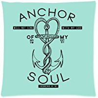 Anchor of My Soul - Bible Verse HEBREWS 6:19 Cushion Case - Square Pillowcase Cushion Case Throw Pillow Cover with Invisible Zipper Closure - 18x18 inches, Twin-sided Print