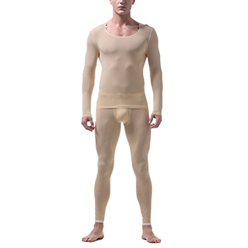 Zhuhaitf Herren Thermo Unterwäsche Set Skiunterwäsche langarm Shirt lange Unterhose Translucent Soft Comfortable Thin Ice Silk Non-trace Thermal Underwear Set Long Sleeve Top & Bottom Long Johns (Shirt Top Thermo-unterwäsche)