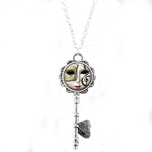 aaaaAA Halskette mit Anhänger Glasfliese Mardi Gras Maske Glas Tlle Schmuck Urlaub Schlüssel Halskette Urlaub Schmuck Messing Schmuck Mardi Gras Jewelry1