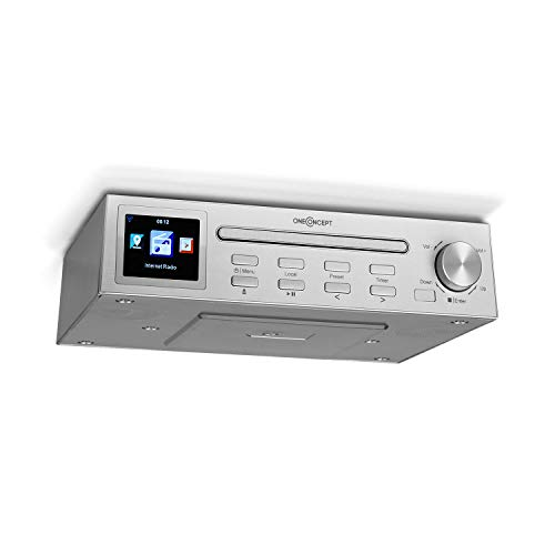 "oneConcept Streamo Chef Küchenradio, Unterbau-Radio, CD-Player, Bluetooth, Internetradio: über 14.000 Radiostationen, 2,4"" HCC Display, WiFi, App Control, Sleeptimer, Weckfunktion, Silber"
