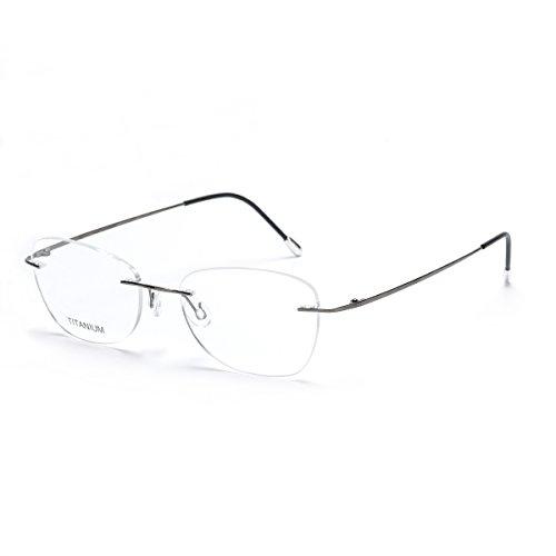 Gafas de titanio con montura al aire DUKEROY 16010; disponibles de 4 colores, estilo vintage, color dorado, unisex gris Bright Gun C