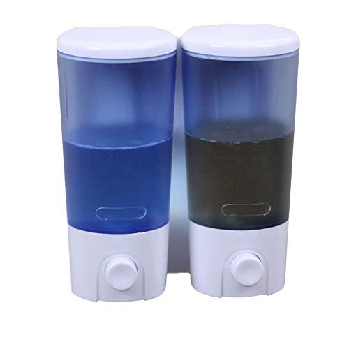 RLJJCS Seifenspender, 380ml * 2 blau transparent Peelingbecher Shampoo Duschgel Handlotion Gel Doppelflasche, Wandseifenkiste Händedesinfektionsbox (Color : Blue) -