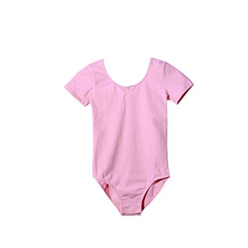 DoGeek Ballett Body Trikot Kinder Damen Ballettanzug Turnanzug Mädchen Gymnastikanzug Kurzärmliges (90-165 cm) - Damen-tanz-trikot Pink