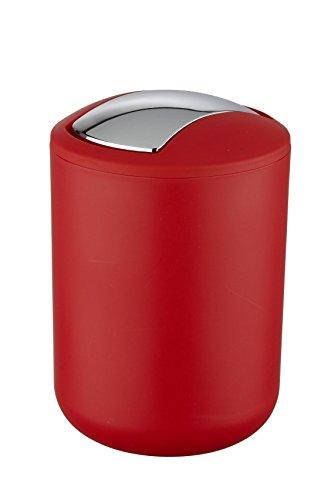 WENKO 21216100 Schwingdeckeleimer Brasil Rot S - absolut bruchsicher, Fassungsvermögen 2 L, Thermoplastischer Kunststoff (TPE), 14 x 21 x 14 cm