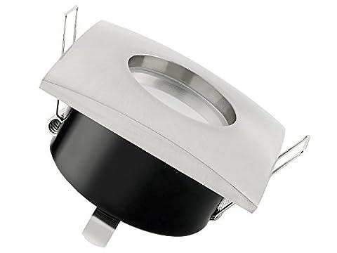 LED Einbau-Strahler für Bad IP65 eckig dimmbar, Einbau-Leuchte QW-1 Edelstahl gebürstet, 5W GU10 LED warm-weiß dimmbar für 230V