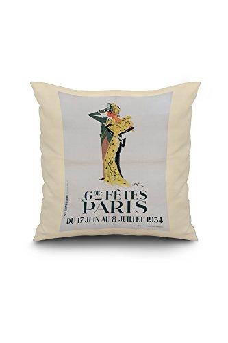 Grandes Fetes De Paris Vintage Poster (artist: Domergue) France c. 1934 (18x18 Spun Polyester Pillow Case, White Border)
