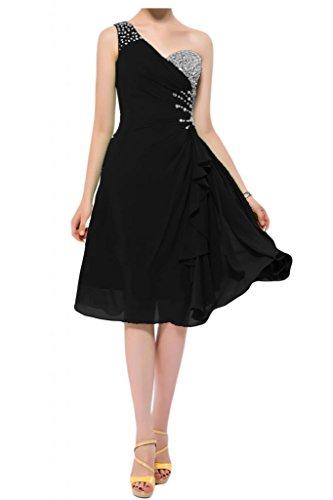 Toscane mariée chouchou une épaule teelang abendkleider courte en mousseline de cocktail partykleider demoiselle d'honneur Noir - Noir
