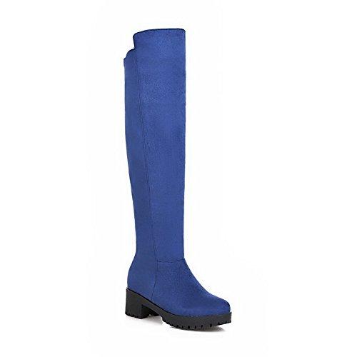 AllhqFashion Damen Mittler Absatz Rein Rund Zehe Mattglasbirne Ziehen auf Stiefel, Blau, 35