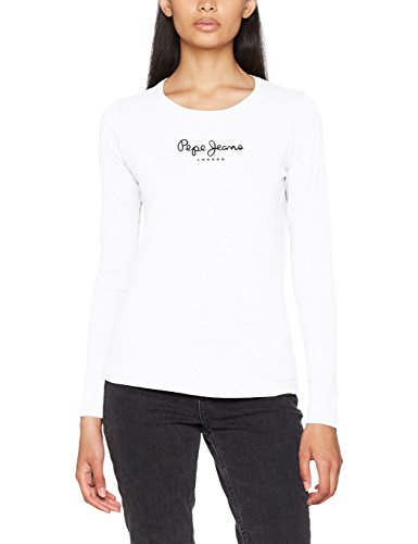 Pepe Jeans New Virginia LS PL502755, T-Shirt Donna, Bianco (White 800), X-Large