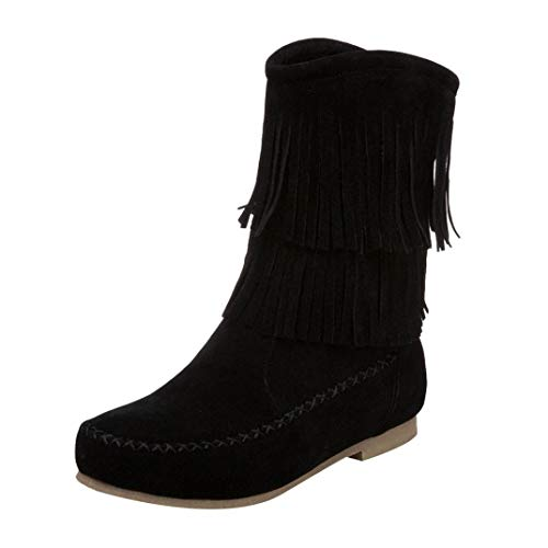 Frashing Fransen Damen Stiefel Flache Stiefel Damen Stiefeletten Cowboy Western Stiefel Boots Schlupfstiefel Schuhe Schnee Stiefel Winter Winterstiefel Mode Schuhe