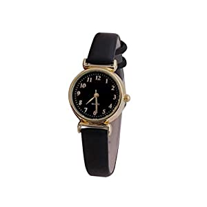 Men Women Wristwatch, Glass Leather Skin Strap Women's Watch Men's Watch Quartz Lovers Watches