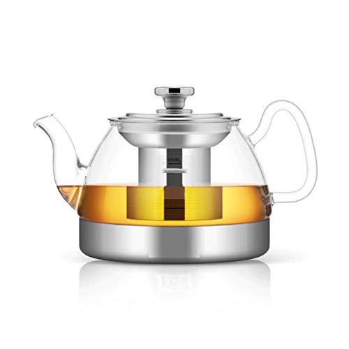 Teekannen, Kalter Wasserkocher, Glas, Edelstahl-Filter, hitzebeständig, hohe Temperaturbeständigkeit, verdickt, Anti-Burst, 4 Tassen, Tablett