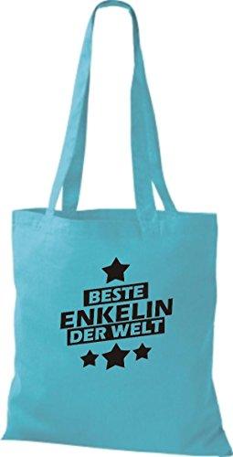 Shirtstown Stoffbeutel beste Enkelin der Welt hellblau