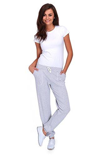 futuro fashion Damen Sport volle Länge Fleece Jogginghose mit Taschen mit Manschetten gym-hosen Joggen DK Aschgrau