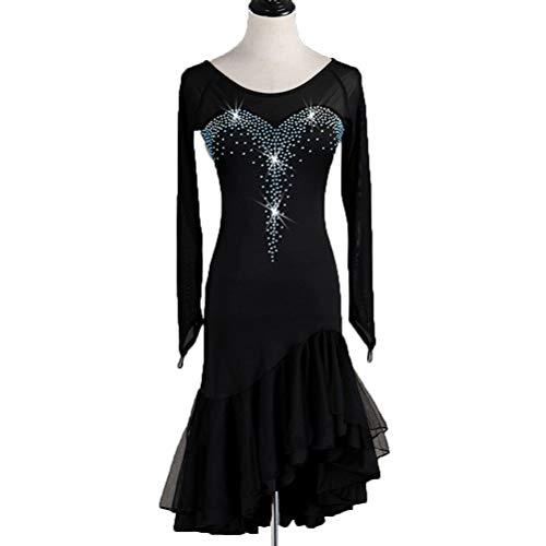 HAOBAO Langarm Latin Dance Kleider Lange Ärmel Rundhals Turnanzug Tango-Samba-Salsatanz für Frauen Performance Kostüm mit Strass Party Kleid, XXXL