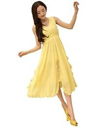 BININBOX® Damenkleider Sommer Lang Chiffonkleid Freizeit Boho Strandkleid Ärmellos V-Ausschnitt Volant Einfarbig beach Dress