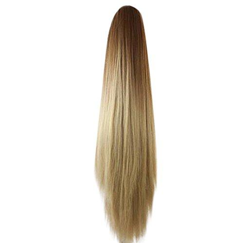 Elecenty ♬♬ Lange glatte Haarverlängerung Wrap Around Off Black Synthetic Perücke One Piece Perücken für Frauen Lady Girl