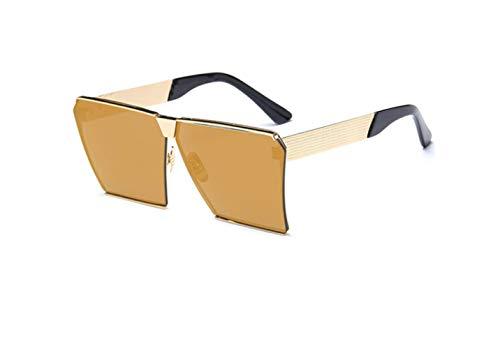 liwenjun Sonnenbrille quadratisch Rahmen aus Metall farbig Persönlichkeit Sonnenbrille, große Visier Polarisation Gold Rahmen Local Gold