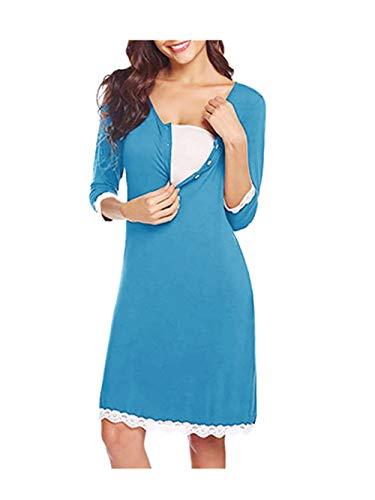 Kleider für Schwangere mit Spitzen 2in1 Umstands gerafften Stillkleid Still-Nachthemd für Schwangere Diskretes Stillen Umstandskleid Maternity Schwangerschaftskleid Freizeit Kleider Minikleid