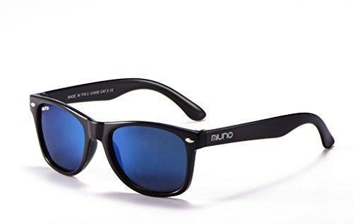 Miuno Kinder Sonnenbrille Polarisiert Polarized Wayfare Etui 6833 (Hellblauverspiegelt)