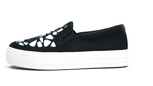 SHFANG Lady Shoes L'aumento interno Pu Casual Scarpe Movimento Confortevole Tempo libero Studenti Bianco Nero black silver