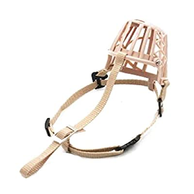 Aishanghuayi Dog Mouth Cover, Soft Plastic Safety Protection, Bite Prevention, Pet Dog Muzzle, With Collar, Beige, XXL beautiful by aishanghuayi