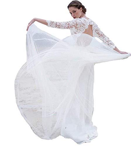 MerryGirl Robes de mariée bohème en Dentelle 3/4 Robes de Mariage Dos Nu Manches Longues (Ivoire, 40)