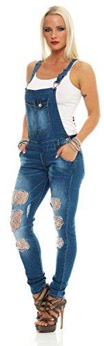 11033 Fashion4Young Damen Latzhose Jeans Röhrenjeans mit Hosenträgern Overall Latzjeans Blau