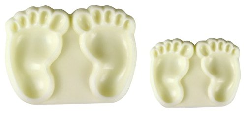 PME 1102EP002 Jem Pop It - Motivform Babyfüße zum dekorieren von Torten, Sortiment 2 - Große und kleine Größen, Kunststoff, Ivory, 6 x 2 x 4.5 - Silikonform Füße