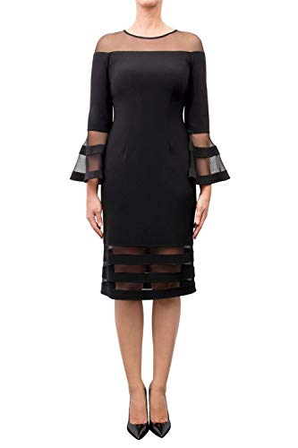 Joseph Ribkoff Bell Sleeve Dress with Sheer Cut Outs Style 183417 Black