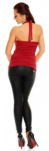 Zeta Ville - Mujer - Top Halter Jersey - Verano camiseta - 167z Cremisi
