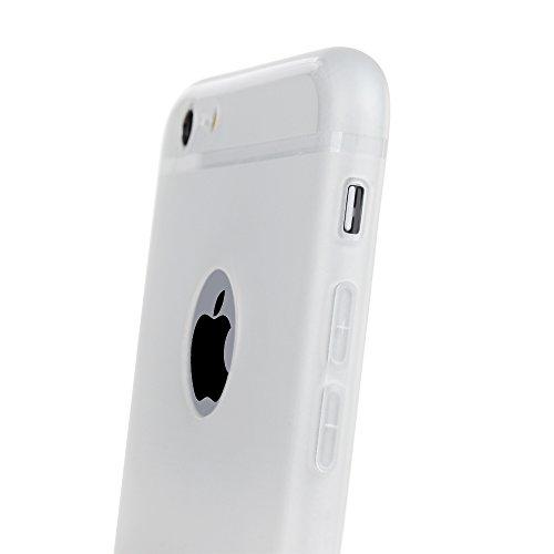 """Mavis's Diary Coque iPhone 6 / iPhone 6S 4.7"""" Étui de Protection TPU Silicone Housse Souple Transparent Phone Case Cover Découpe du Logo Violet + Chiffon Blanc"""