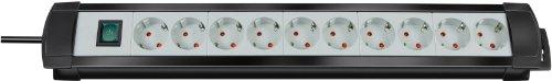 Brennenstuhl 1156150010 Steckdosenleiste Premium-Line 10-fach 3 m H05VV-F 3G1,5, schwarz/lichtgrau