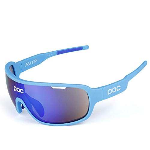 AUMING Polarisationsbrille Polarisationsbrille Polarized Sunglasses Sport Ciclismo Schutzbrille UV400 Superlight Frame Design für Männer und Frauen 5 austauschbare Gläser 7 Farben blau