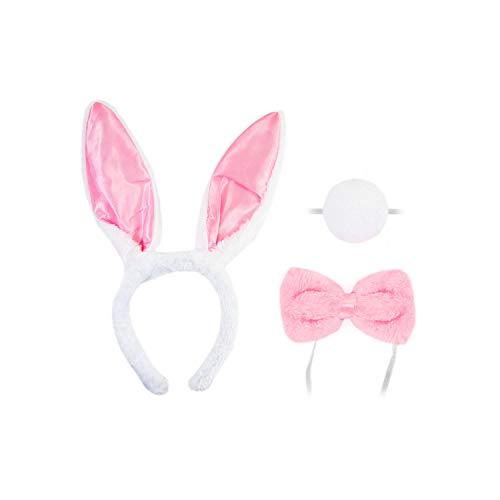 y Bunny Häschen Hasen Kostüm Accessoire Set für Damen mit Häschen Ohren Haarreif + Schwanz + Fliege für Fasching Karneval Motto Party Rosa Weiß ()