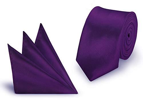 StickandShine Krawatte + Einstecktuch Aubergine slim aus Polyester einfarbig uni schmale 5 cm