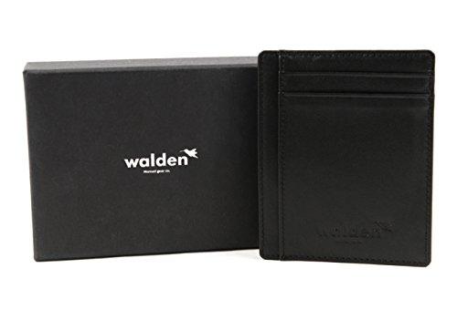 Portafoglio sottile in pelle da uomo e donna, di Walden. Organizer nero con tecnologia blocca RFID per le carte di credito. 4 aperture per le carte di credito e 1 tasca per soldi / biglietti.