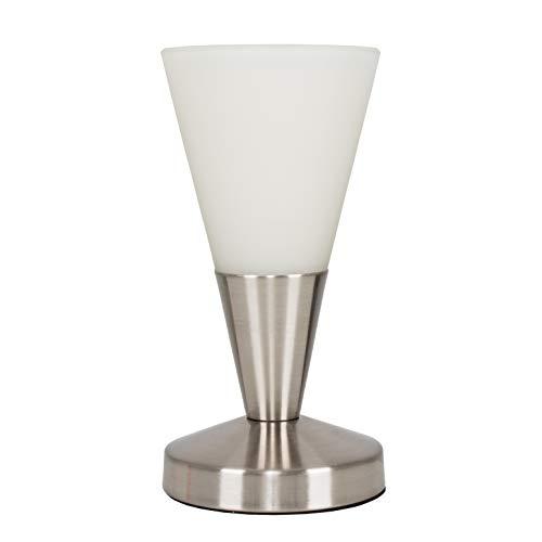 MiniSun Lampe à Poser Tactile. Variateur Touche Intégré.'Conique' Contemporain en Nickel avec Verrerie Blanc Givré