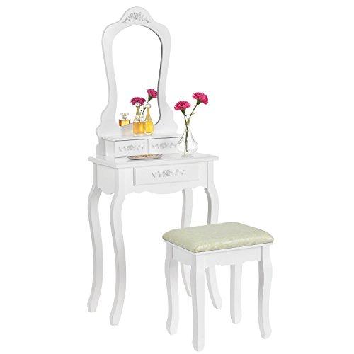 ArtLife Schminktisch Sophia weiß | Kosmetiktisch aus Holz mit Spiegel, Schubladen & Hocker | Landhausstil | Frisiertisch