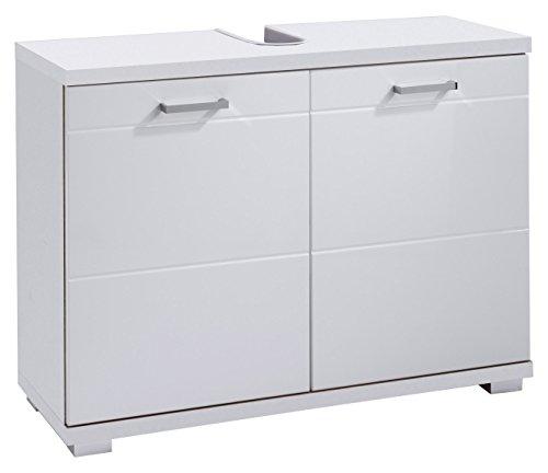 Homexperts Waschbeckenunterschrank NUSA / Waschtisch Unterschrank stehend, in Hochglanz Weiß lackiert / 2-türig, 80 x 31,5 x 59cm (B x T x H) -