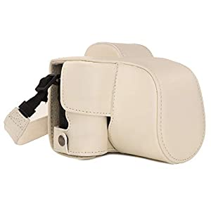 MegaGear MG1449 Canon EOS M50 (15-45mm) Ever Ready Leather Camera Case and Strap - White