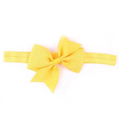 ZEZKT-Girl Baby Kind Mädchen Prinzessin Kristalldiamant Stirnband Blumen Haar-Band Süßes Baby Headband Prinzessin Stretch Stirnbänder Babygeschenke Taufe Geschenk (Gelb)