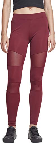 Urban Classics Damen Leggings Ladies Tech Mesh, Rot (Port 01157), 3XL