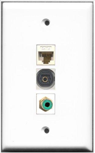 RiteAV-1Port RCA grün und 1Port Toslink und 1Port Cat6Ethernet weiß Wall Plate Decora Insert Flush