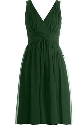 ivyd ressing robe encolure en V robe courte mousseline Party Prom Lave-vaisselle robe robe du soir Vert - Vert