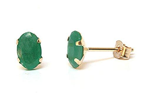 Oro de 9ct Esmeralda ovalada pendientes de tuerca