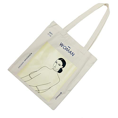 Xiton 1 STÜCK Schickes Design Segeltuch Tragetasche Wiederverwendbar LebensmittelgeschäFt Waschbare Tasche Einkaufstasche Minimalismus Drucken Segeltuch Schultasche Strandtasche FüR MäDchen