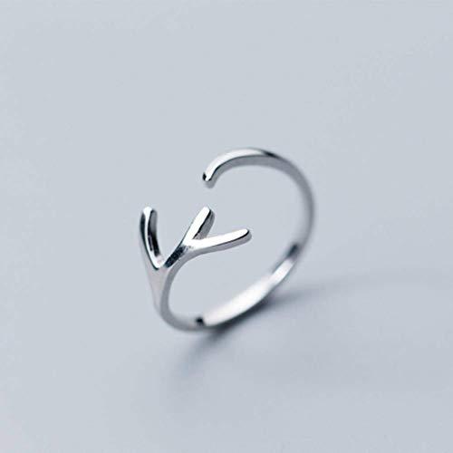 AFDK S925 Silber Ring Frauen Lsquo; S Han Xiaoqing Frische Glatte Geweih Öffnungsring Ring Mode Einzelring, S925 Silber Ring, Öffnung Einstellbar